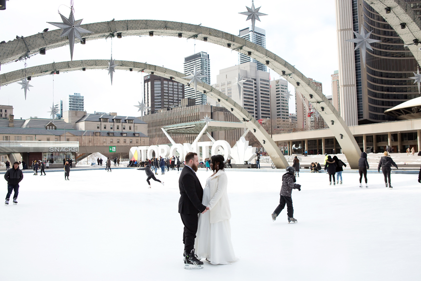 winter wedding portrait Nathan Phillips Square