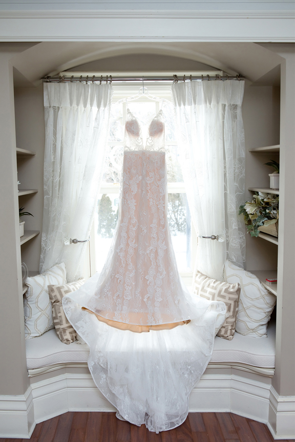 bride prep wedding dress