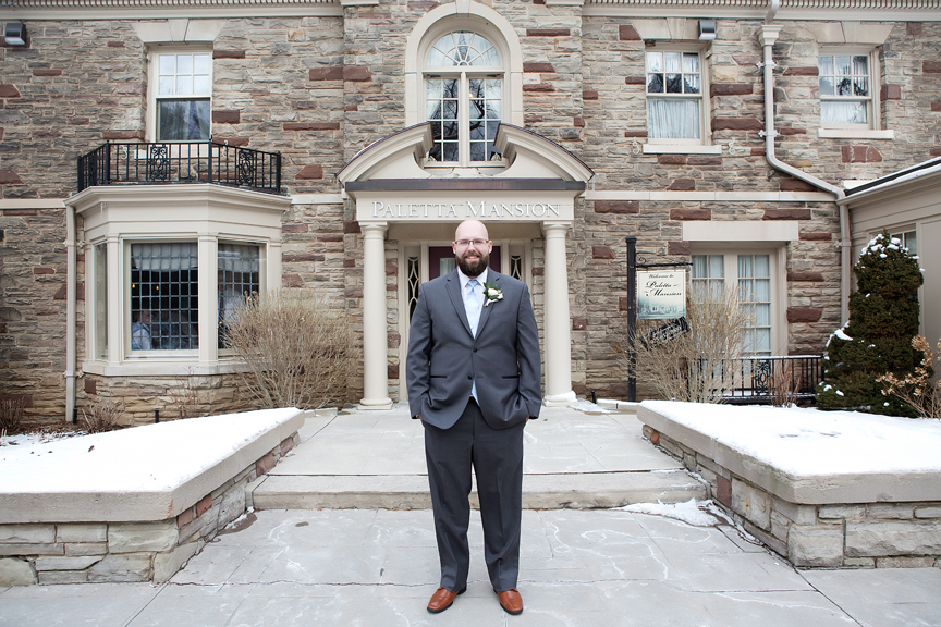 Paletta mansion winter wedding portrait groom