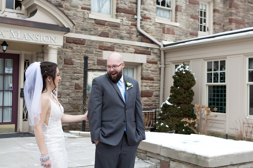 Paletta mansion winter wedding portrait first look