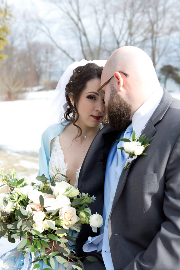 Paletta mansion winter wedding portrait bride and groom
