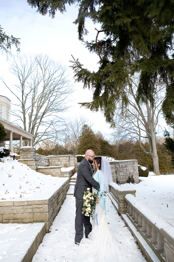 Paletta mansion winter wedding portrait bride and groom romantic