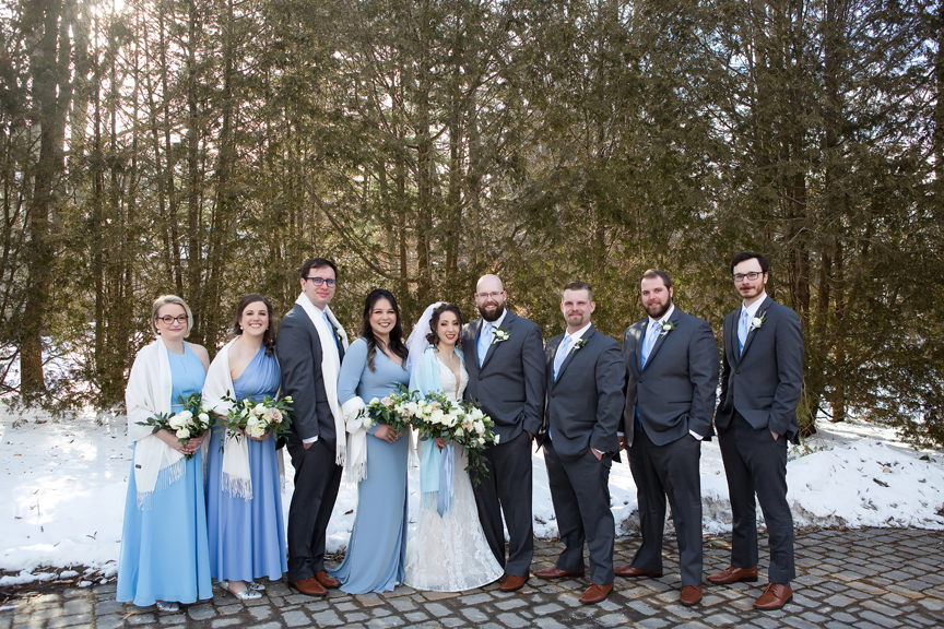Paletta mansion winter wedding portrait bridal party