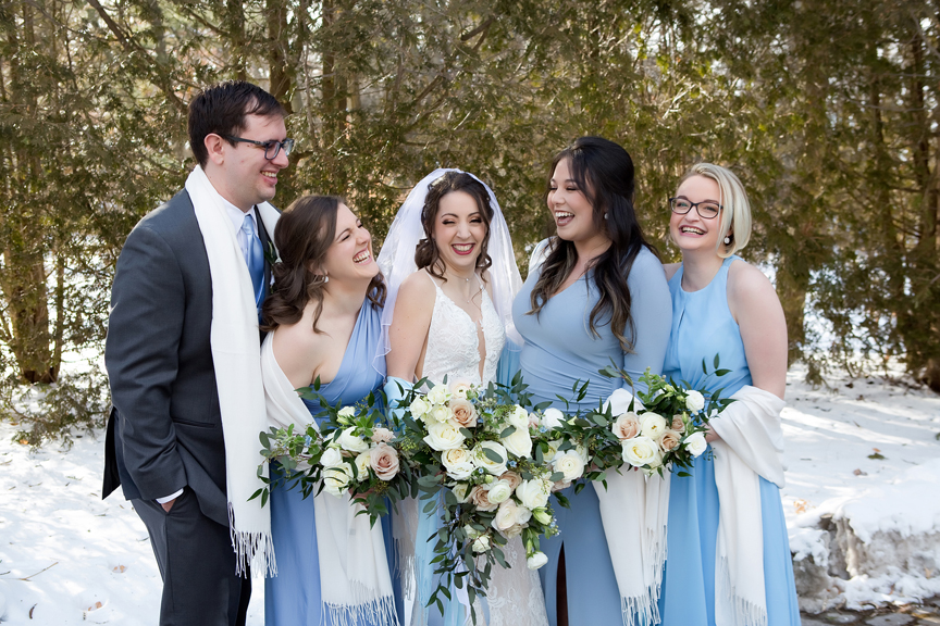 Paletta mansion winter wedding portrait bridesmaids