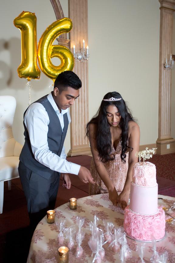Sweet Sixteen Birthday party at Royal Ambassador cake