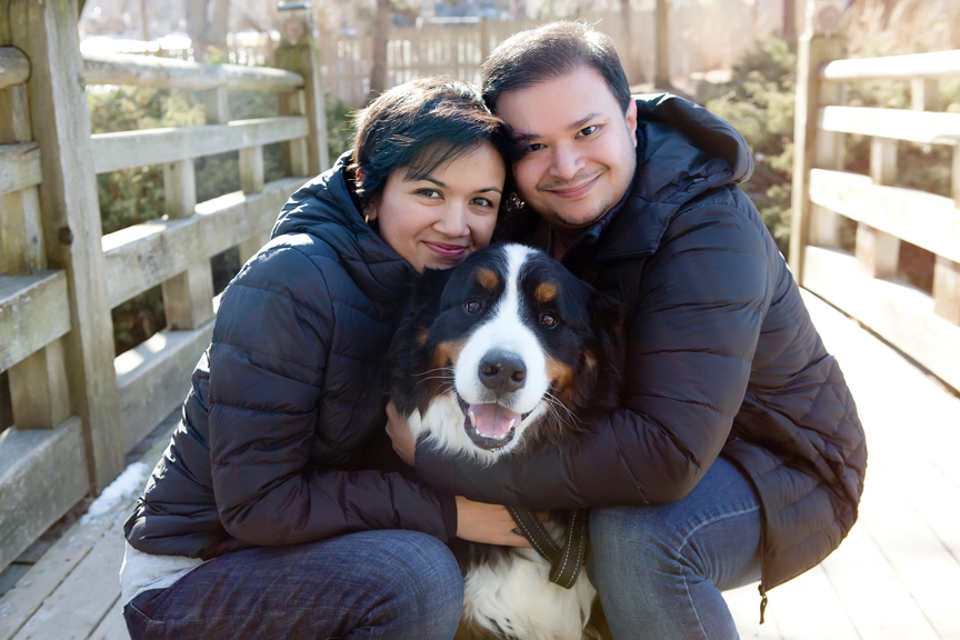 professional winter portrait with dog and parents