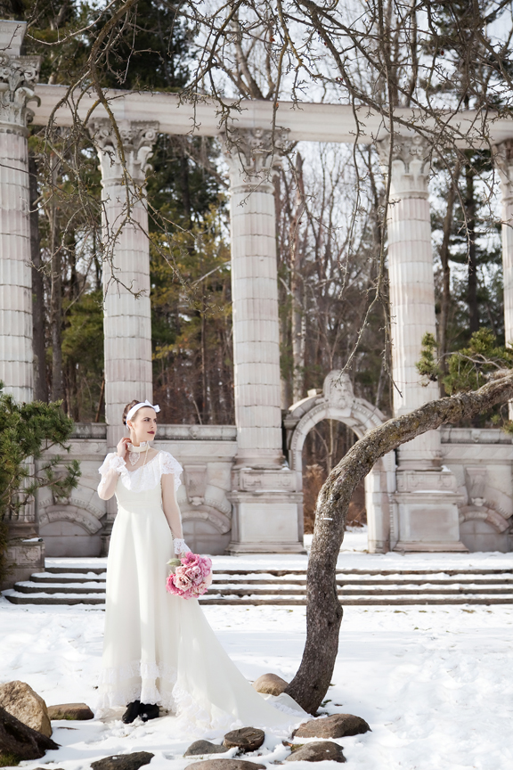 wedding portrait winter bride at Guild Inn Estate