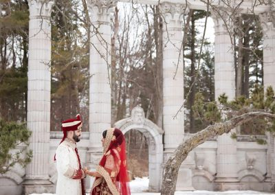 Winter wedding portrait at Guild Inn Estate