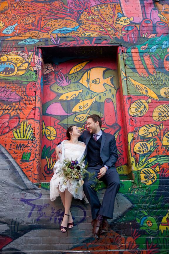 Wedding Portrait at Graffiti Alley