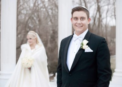 winter wedding portrait at Paradise Banquet Hall