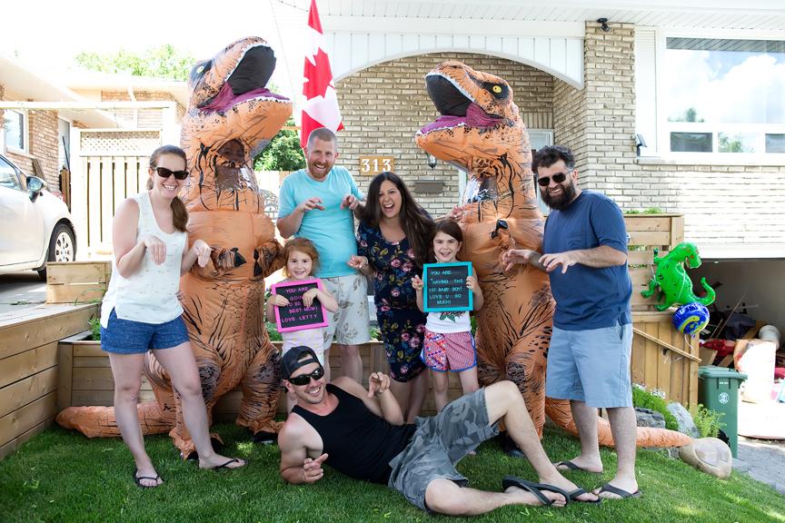 dinosaurs drive-thru baby shower Covid-19