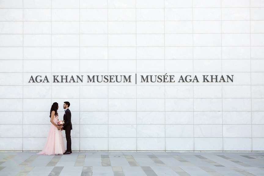 Wedding portrait at Aga Khan Museum during COVID-19