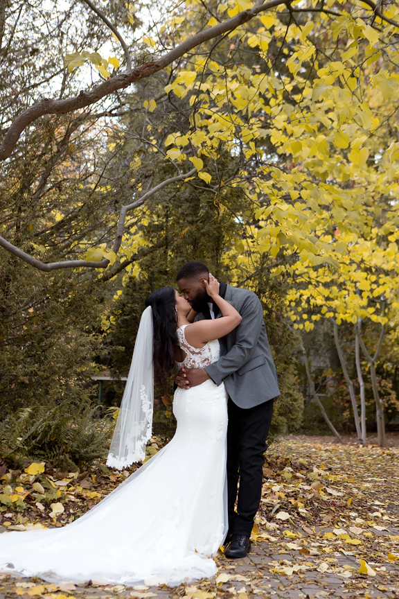Fall wedding portrait sunset