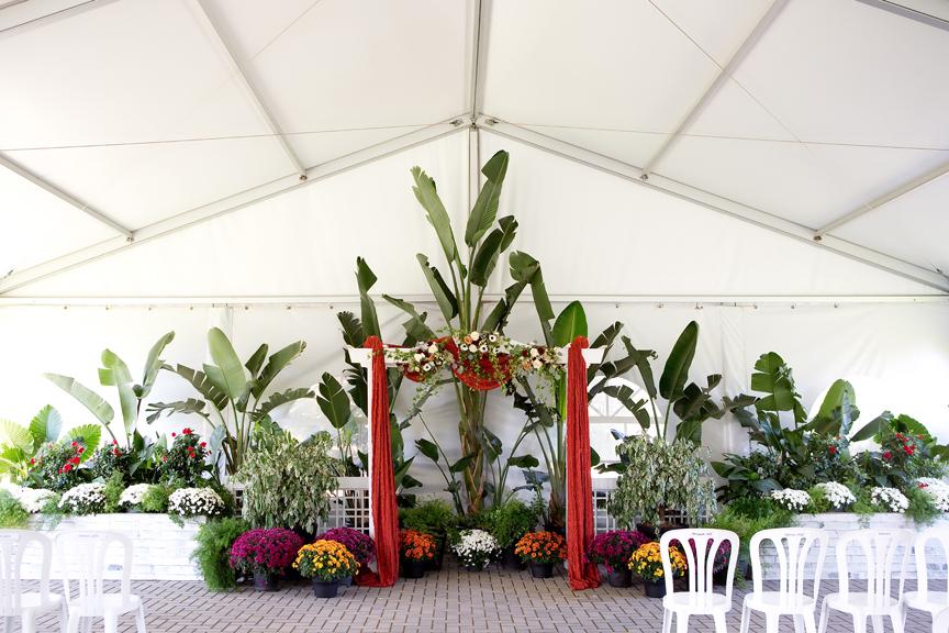 alter wedding ceremony at Rose Garden Tent