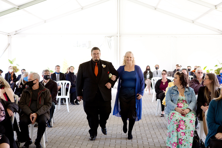 groom down the aisle wedding ceremony at Rose Garden Tent