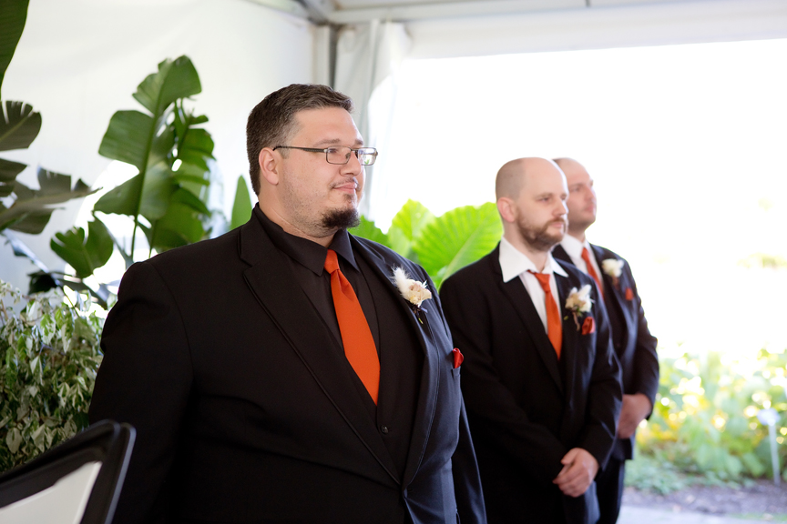 first look wedding ceremony at Rose Garden Tent