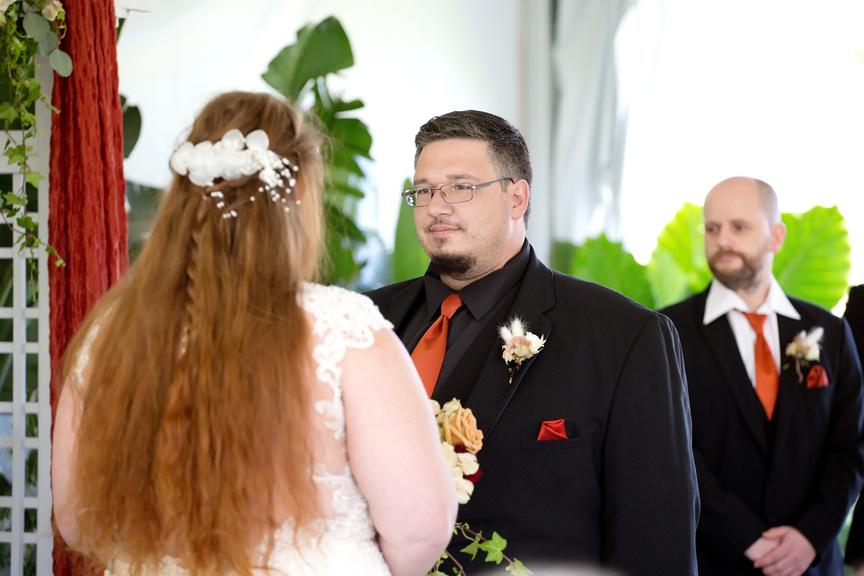 wedding ceremony at Rose Garden Tent