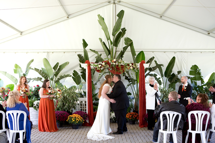first kiss wedding ceremony at Rose Garden Tent