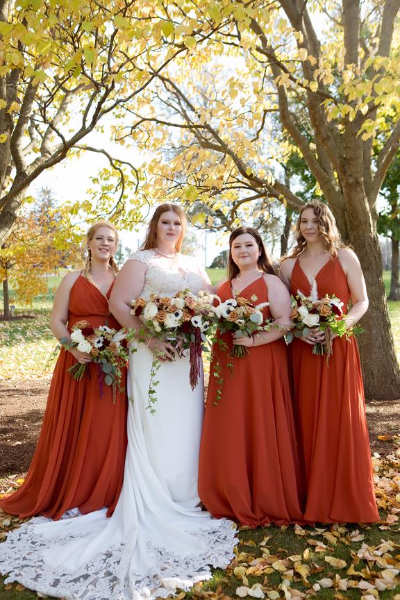 bridesmaids Wedding portrait at the Royal Botanical Gardens