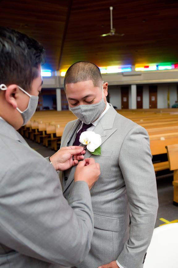Wedding ceremony at St Thomas More Parish during COVID-19