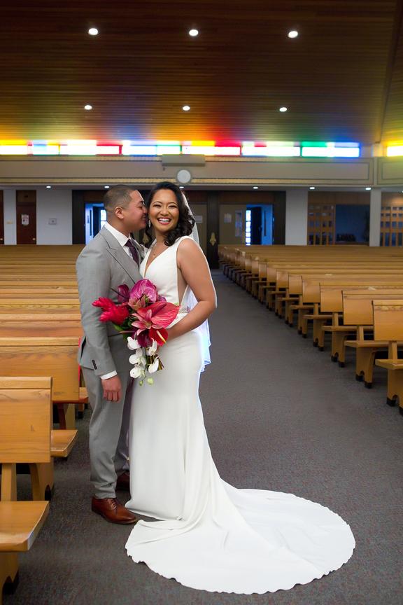 Couple wedding portrait at St Thomas More Parish