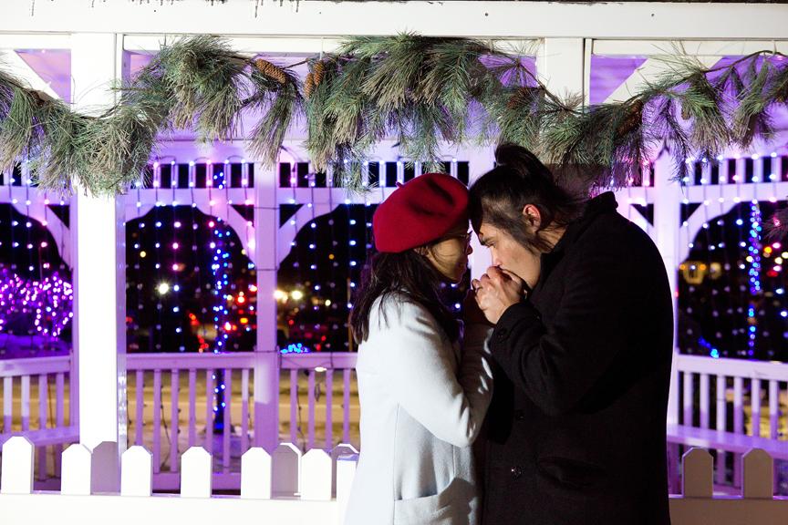 Christmas engagement shoot after dark