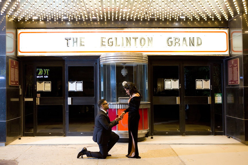 Wedding proposal outside Eglinton Grand