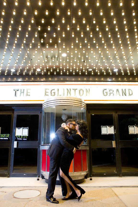 Wedding proposal outside Eglinton Grand