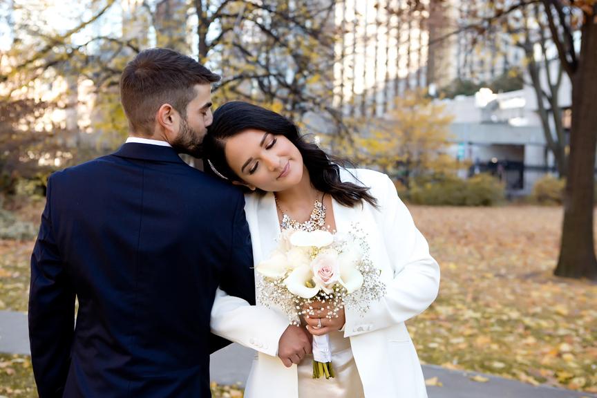 Wedding portraits outside Toronto City Hall